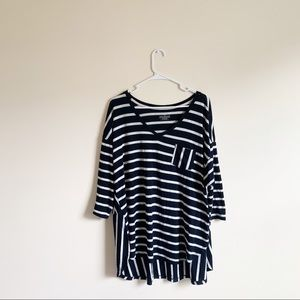 Lane Bryant Striped Flowy Pocket Tunic Top